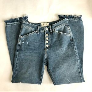 We The Free Button Front Hi-Rise Straight Leg Jean